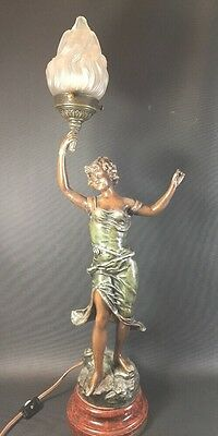 ART DECO Newel Post LAMP SPELTER LADY STATUE Sculpture FIGURAL Flame SIGNED