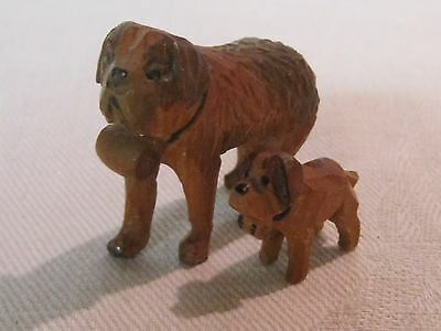 Old vintage Anri hand carved wooden St. Bernard dog and puppy