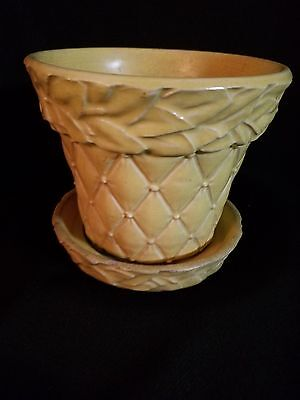 Mccoy Quilted Flower Pot Attached Saucer 1950 Marked