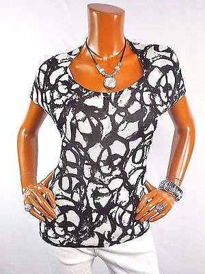 JONES NY Womens Top XL White Black Knit Shirt Casual Summer Blouse Short Sleeves