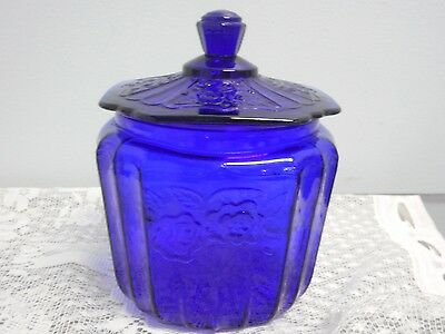 Vintage Cobalt Blue Glass Canister Cookie Biscuit Jar w/ Lid Rose Mayfair Floral