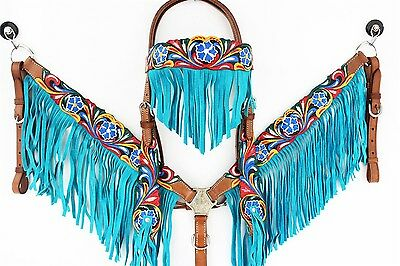 Handmade Turquoise Fringe Tooled Leather Headstall Western Horse Trail Show Set