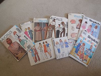 Lot of  9 Vintage Sewing Patterns McCall's, Simplicity, Style - Women, Children