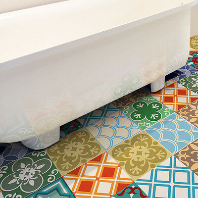 Moroccan Patterned Huge Vinyl Floor Stickers Multicoloured 120cm x 60cm Sheet