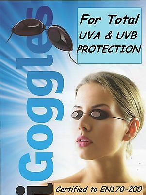 2 X PAIRS SUNBED TANNING GOGGLES UV TANNING EYE  PROTECTION GENUINE ce iGOGGLES