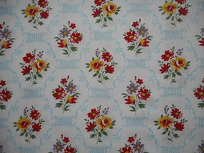 Lovely length of unused vintage 40's or 50's floral dress fabric - 2M lengths