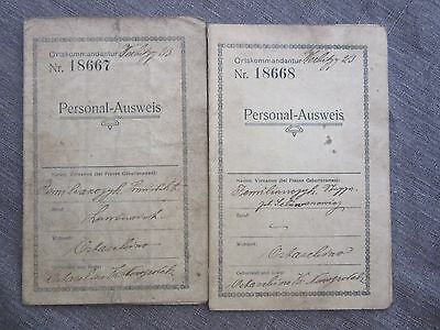 WWI Germany - POLAND  PERSONAL AUSWEIS- PASSPORT - PASS for Wife and Husband
