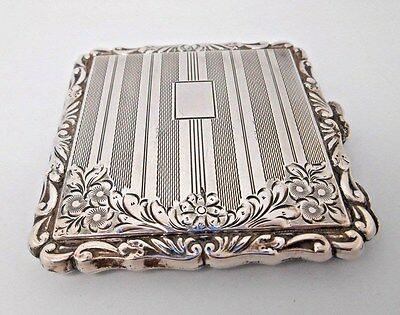 ART DECO  FRENCH  800 Silver LADIES COMPACT Signed JL  No Monogram - 112 grams