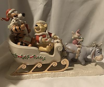 """Lenox Disney Winnie The Pooh """"A Sleigh Ride Together With Pooh"""" Figurine"""