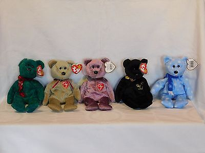 ty BEANIE Babies 5 Stück unbespielt The End Holiday Signature 1999 2000 Wallace