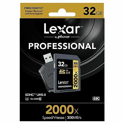 Lexar Professional 2000x (32GB) SDHC UHS-II Card (Class 10) + SD UHS-II Reader
