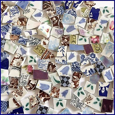 "65 BROKEN CHINA MOSAIC TILES~ 1/2"" Eclectic Shabby Chic Pattern MIX"