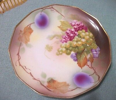 Hand Painted  Grapes Plate Royal Jnnsbruck Vienna Jonroth Studios M Z Austrea