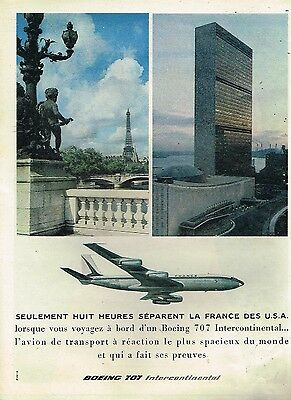 K- Publicité Advertising 1960 Compagnie aerienne Air France Boeing 707