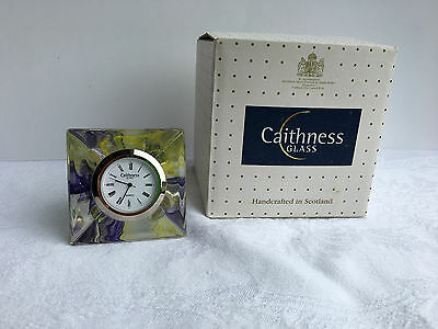 Caithness Glass Carnival Clock with Original Box - Purple/Yellow (529)