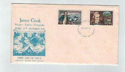 1978 NORFOLK ISLAND Captain Cook - 250th Birth Anniversary   First Day Cover