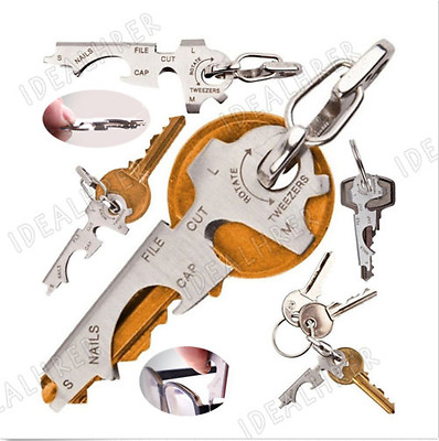 8 in 1 EDC Stainless Bottle Opener Keychain Multi-function Key Clip Pocket Tool