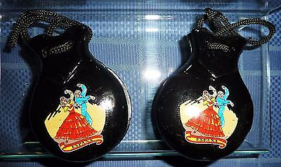 New Spanish Castanets - Black with Authentic Pictures
