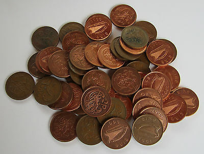 Job Lot of 50 Eire Ireland Irish 2p Decimal Coins 1975 1979 to 2000 2cm Large