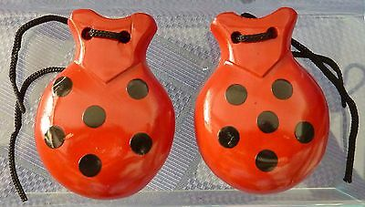 New Spanish Castanets - Red with Black Spots
