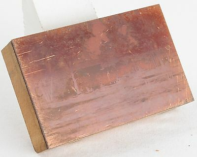 Vintage Copper PRINTING Plate WOODEN Block SUNSET BAY Wisconsin DELLS WI Photo