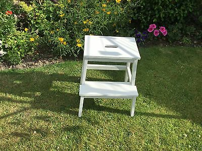 Ikea Bekvam Wooden Step Stool - New Solid Birch Wood Kitchen Painted white