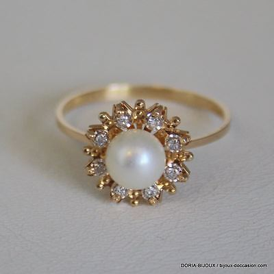 Bague Or Jaune 18k 750 Perles Et Diamants 2.6grs- 58 - Bijoux occasion
