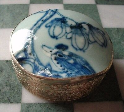 Vintage Chinese Trinket Box in metal with blue & white porcelain shard set lid