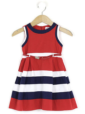Mayoral Chic Girls Red Striped Belted Dress Size 5 Years
