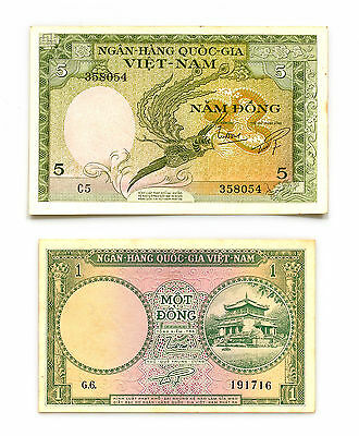 2 different South Vietnam paper money 1 and 5 Dong 1955-56 nice Au