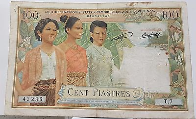 Laos French Indochina 100 Piastres ND (1954) P#103 VF Circulated Banknote