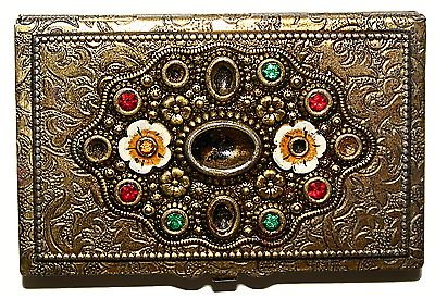 Vintage Brass Card Case With Floral Decoration and Coloured Stones Rare Item