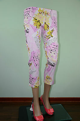Vtg 90s Womens Paper Face Motif Pink Crop Capri Casual Trousers Pants sz S/M LW