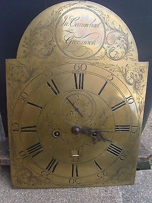 18Th Century Brass Clock Face & Movement John Carmichael Greenock - Glasgow