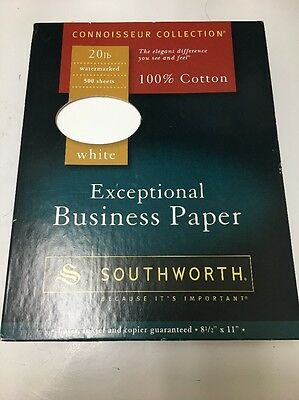Southworth 13C 100% Cotton Business Paper, 20 lbs., 8-1/2 x 11, White, 500/Box