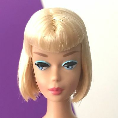 Vintage Barbie REPRODUCTION American Girl Blonde w Bend Legs & Stand REPRO