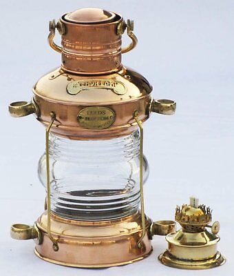 Nautical Brass & Copper Polished Anchor Lantern Hanging Lamp Home Decorative