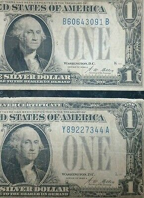 """1928 Circulated One Dollar $1 """"Funnyback"""" Silver Certificates"""