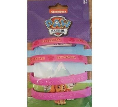 Nickelodeon Paw Patrol Wrist Bands Rubber Bracelets 4 Pack Pink Skye Nick Wrists