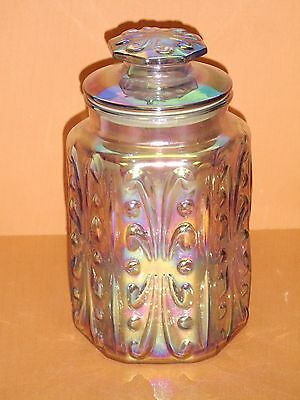 Vintage Blue Green Iridescent Carnival Glass Biscuit Embossed Jar Canister & Lid
