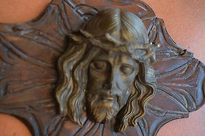 Antique  French Bronze Jesus On Carved Wooden Plaque Beautiful