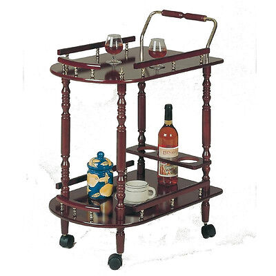 Cherry Wood Finish Kitchen Serving Cart Wine Mini Bar Coaster 3512