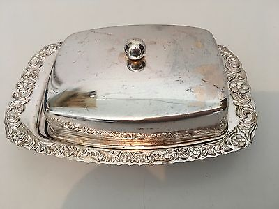 Butter Dish White Metal Very Decorative