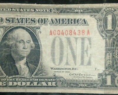 1928 Circulated One Dollar $1 Red Seal US Puerto Rico Note