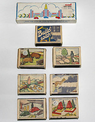 Vintage Miniature Building Blocks in a Matchbox - Germany - Lot of 8