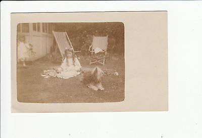 Young Girls with Dog vintage Postcard