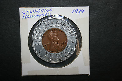 VTG 1934 Turner Loan Company Token Hollywood CA Encased Lincoln Penny Good Luck