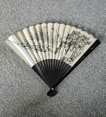 Collectable Chinese Folding Paper Hand Held Fan Decorative Design on Both Sides
