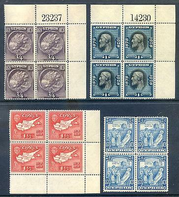 Cyrpus King George 5th 1928 set to 2½pi in unmounted mint blocks (2017/06/16#10)