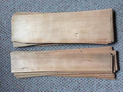 Cherry wood veneer offcuts, 60 sheets, various sizes, 0.5mm thick, wood repairs